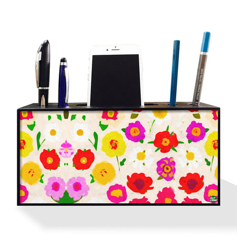 Pen Mobile Stand Holder Desk Organizer - Pretty Little Flowers