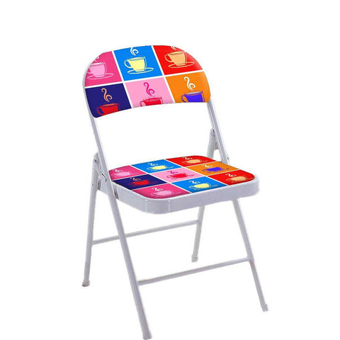 Folding Chair For Living Room Balcony Terrace   - Colorful Cups