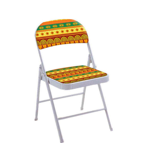 Folding Chair For Living Room Balcony Terrace -  Aztec Orange And Yellow Pattern