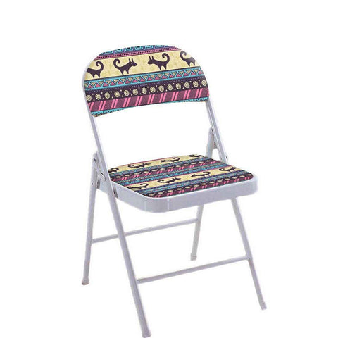 Folding Chair For Living Room Balcony Terrace -  Aztec Blue And Cream Pattern