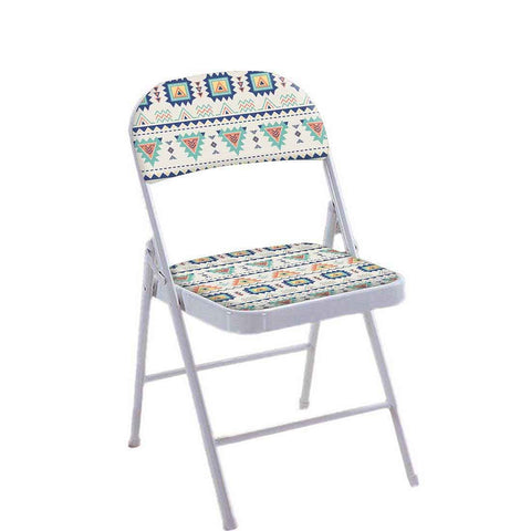 Folding Chair For Living Room Balcony Terrace -  Aztec Orange And Green Pattern