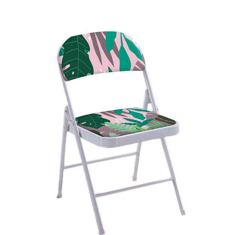 Folding Chair For Living Room Balcony Terrace  - Pink Tropical Vibes