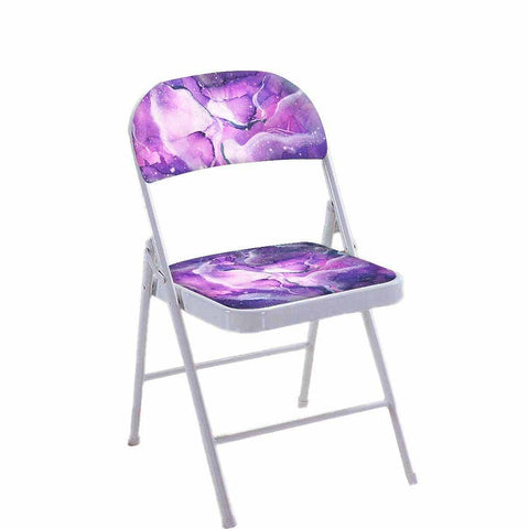 Folding Chair For Living Room Balcony Terrace  - Dark Purple Watercolor