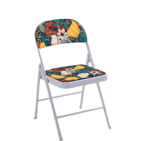 Folding Chair For Living Room Balcony Terrace  - Yellow Flower