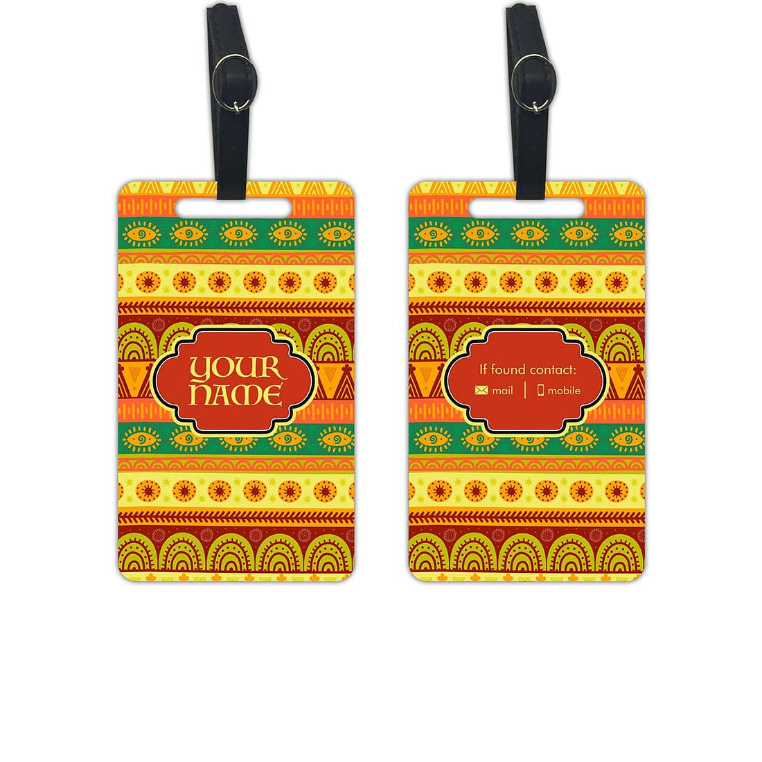Custom Printed Luggage Tag for Bag - Add your Name - Set of 2
