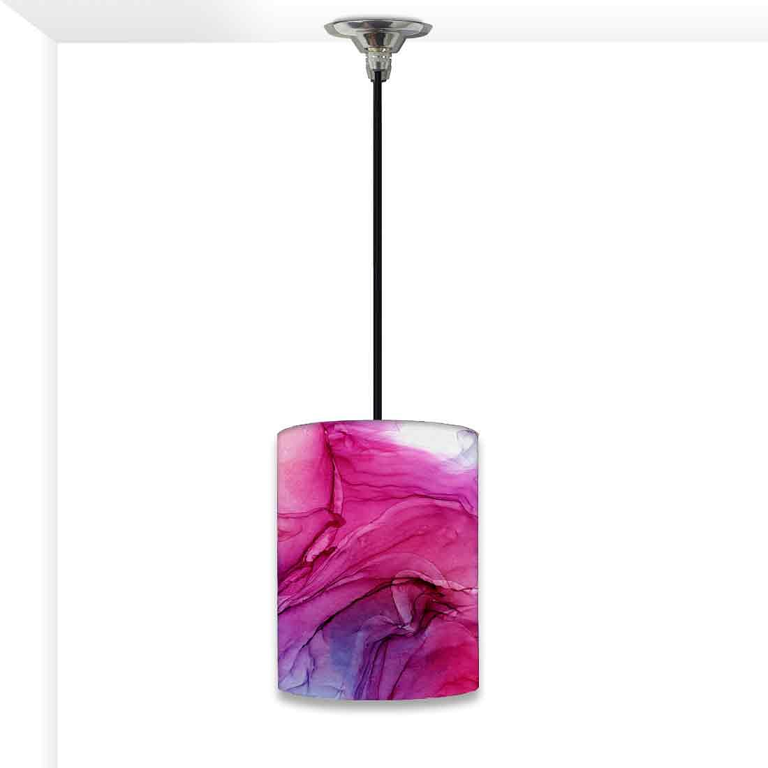 Ceiling Hanging Pendant Lamp Shade - Pink Multicolor Ink Watercolor