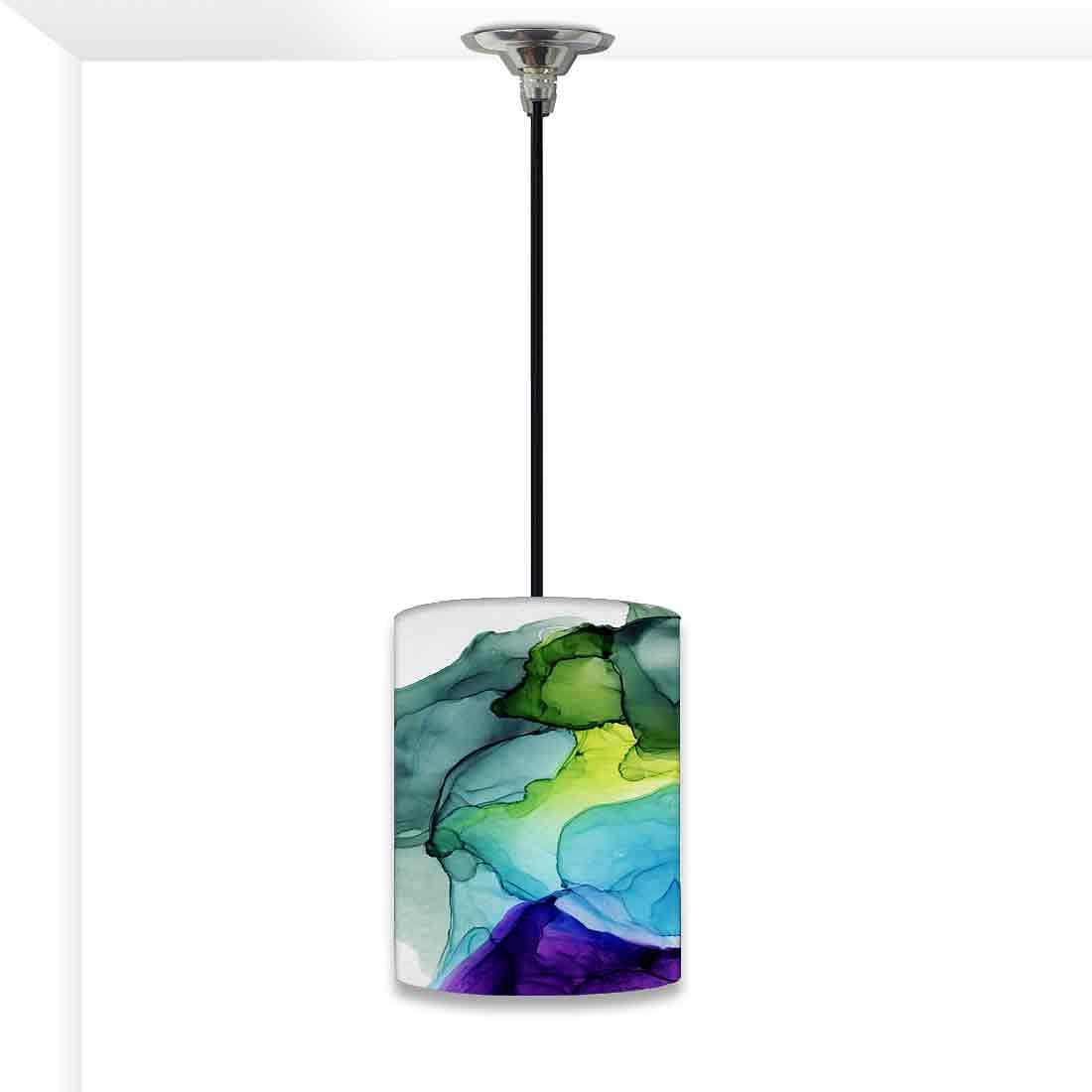 Ceiling Hanging Pendant Lamp Shade - Green Purple Ink Watercolor