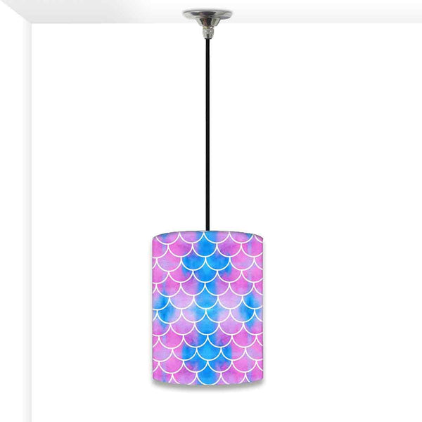 Ceiling Hanging Pendant Lamp Shade - Blue Purple Mermaid Watercolor