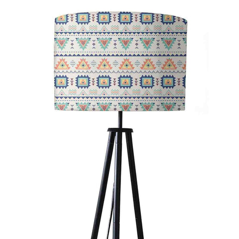 Tripod Floor Lamp Standing Light for Living Rooms -Baby Blue Aztec