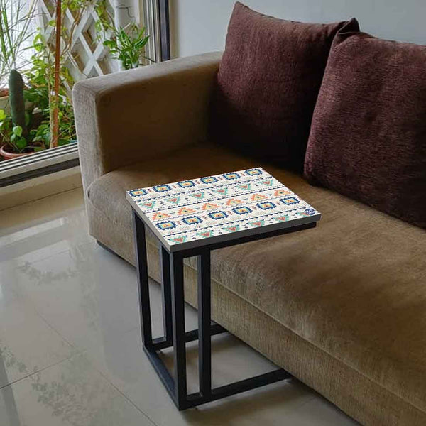 Outdoor Sofa C Table - Aztec Grey Pattern