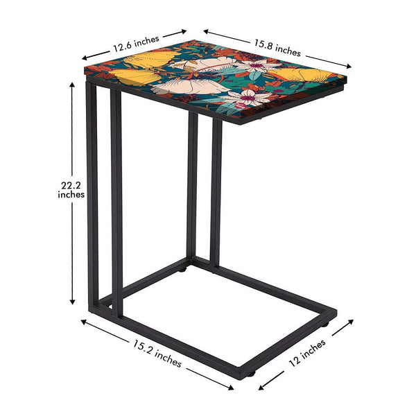 Beautiful Floral Metal C Table Online in India