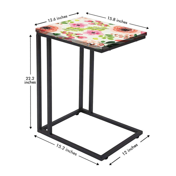New Floral Metal C Table - Watercolor Flower