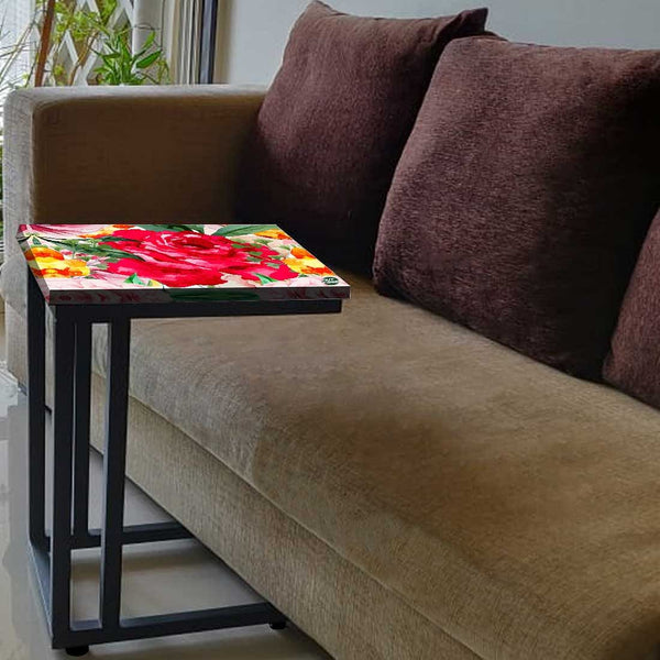 Designer Floral Metal C Table - Red Floral