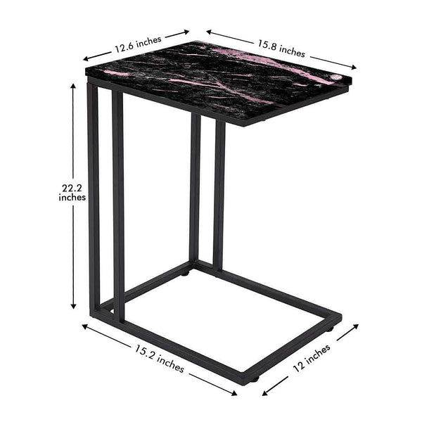Black Marble C Table For Sofa -Digital Print - Not Real Marble - Black Pink Effect