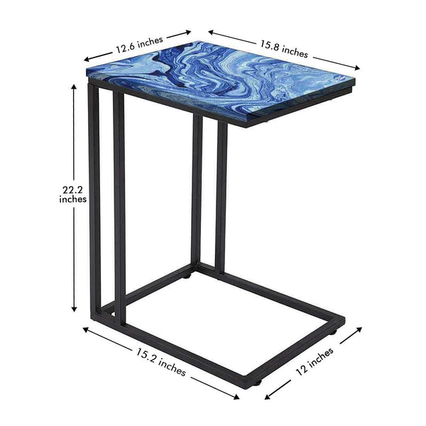 Latest Blue Marble C Table -Digital Print - Not Real Marble -_Blue Effect