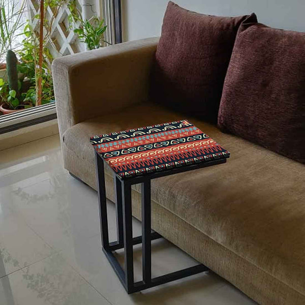 Nutcase Design C Shaped Side Table for Laptop Work on Sofa Couch-Study Breakfast Snack Serving End Tables -_Mexican Design