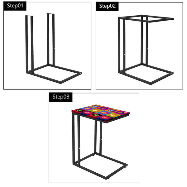 C Shaped Side Table For Sofa - Colorful Faces