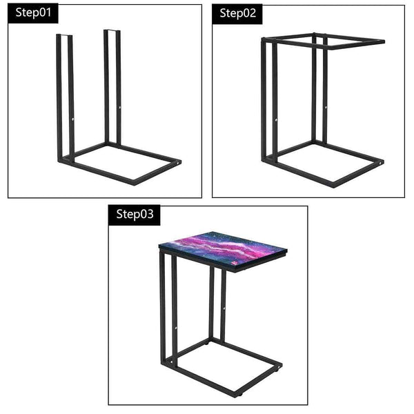 Beautiful Black C Shaped Table - Space Purple Watercolor