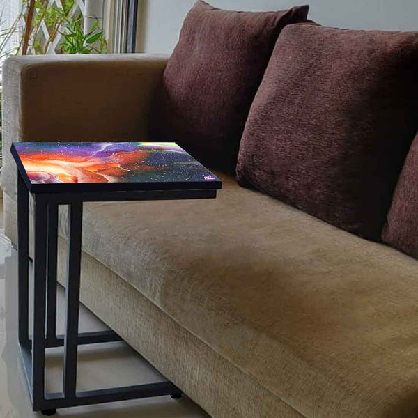 Beautiful C Shaped End Table - Space Multi Watercolor