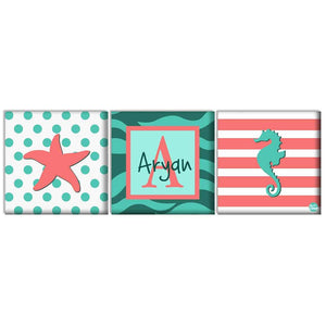 Custom Nursery Wall Art -  Starfish and Seahorse