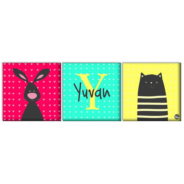 Personalized Wall Art Panel - Cute Bunny and Cat
