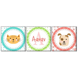Custom Nursery Wall Art - Cat and Dog Face