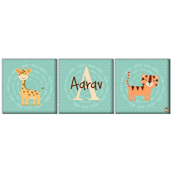 Customized Kids Room Wall Decor - Giraffe and Tigar