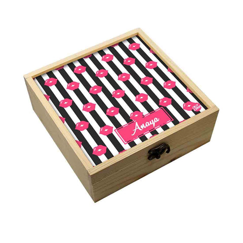 Personalized Jewellery Box Makeup Organizer -  Pink Lips Pout