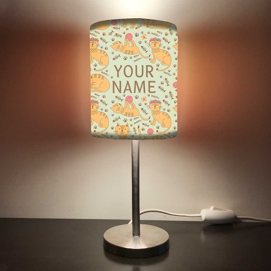 Personalized Kids Bedside Night Lamp-Orange Cat