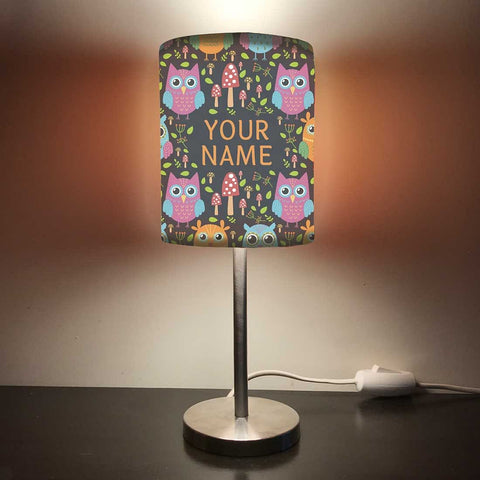 Personalized Kids Bedside Night Lamp-Owl And Mushroom