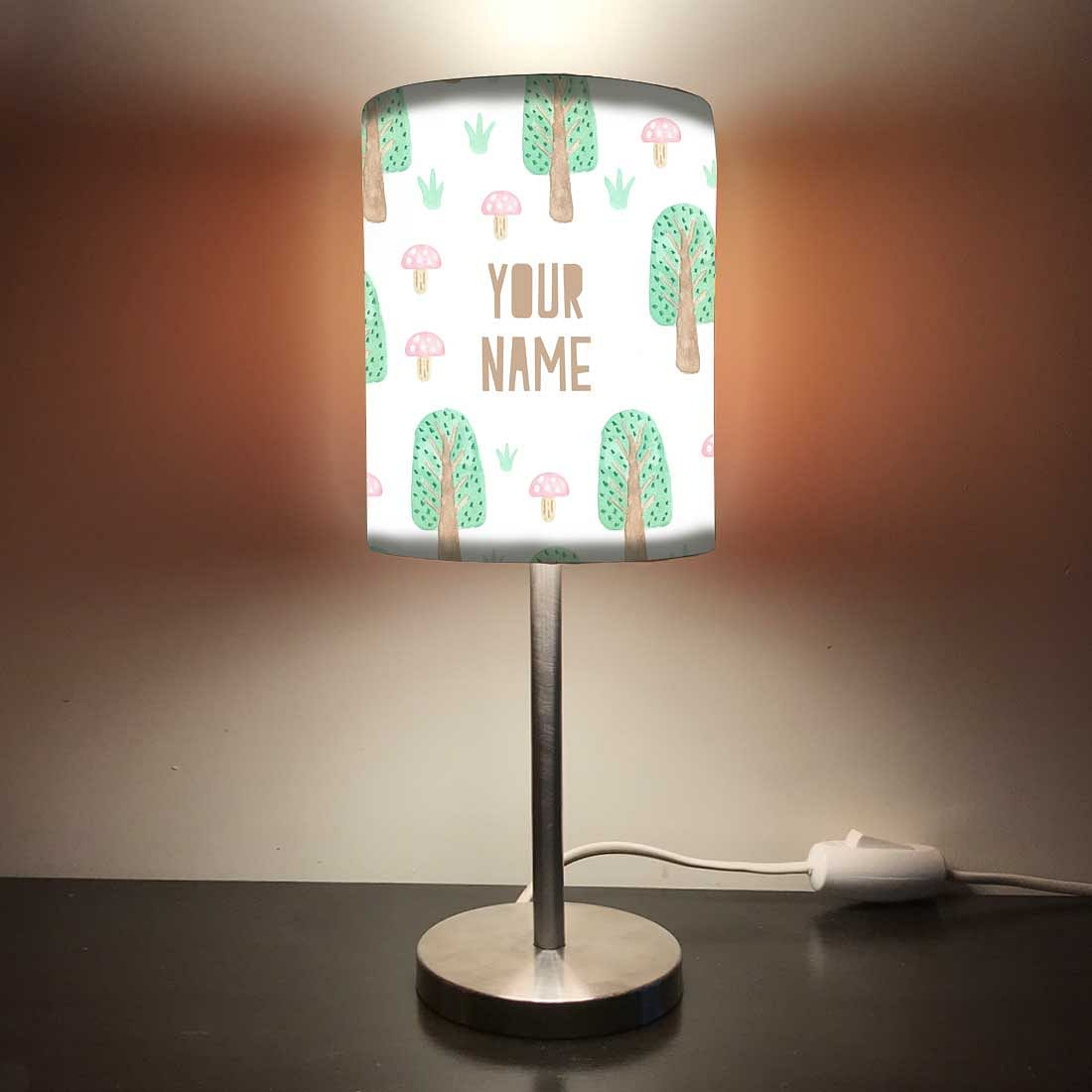 Personalized Kids Bedside Night Lamp-Mushroom And Tree