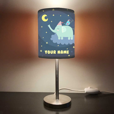 Personalized Kids Bedside Night Lamp-Elephants And Star