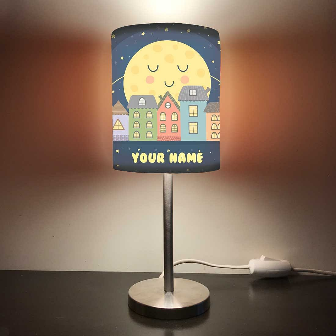 Personalized Kids Bedside Night Lamp-Moon And Star