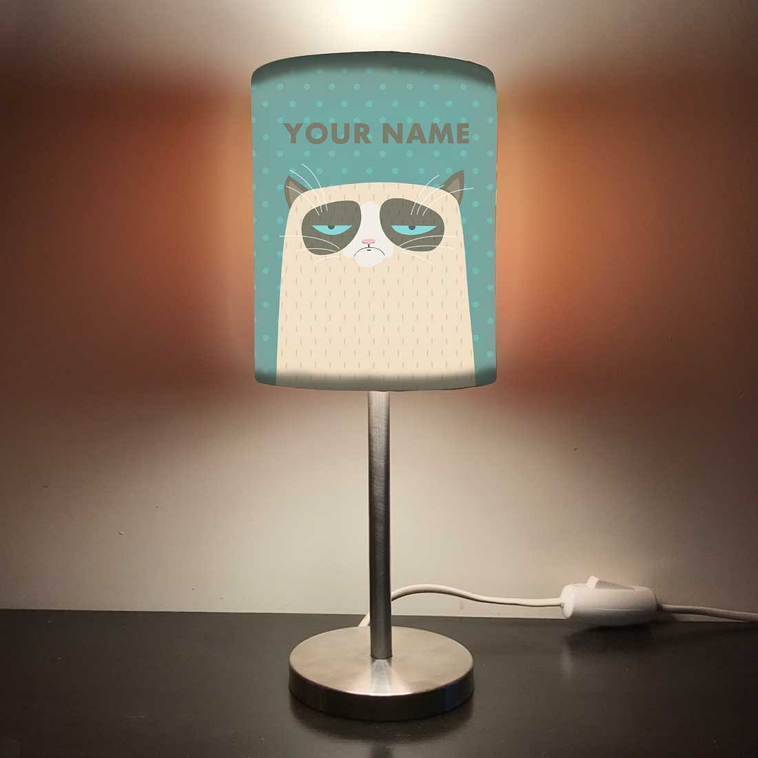 Personalized Kids Bedside Night Lamp-Sleeping Cat
