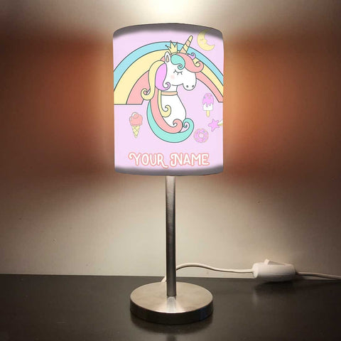 Personalized Kids Bedside Night Lamp-Rainbow And Unicorn