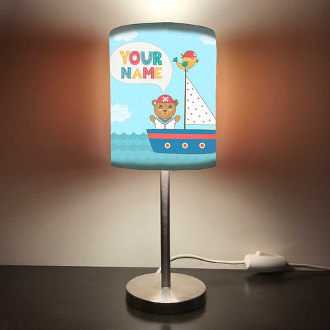 Personalized Kids Bedside Night Lamp-Bear And Ship