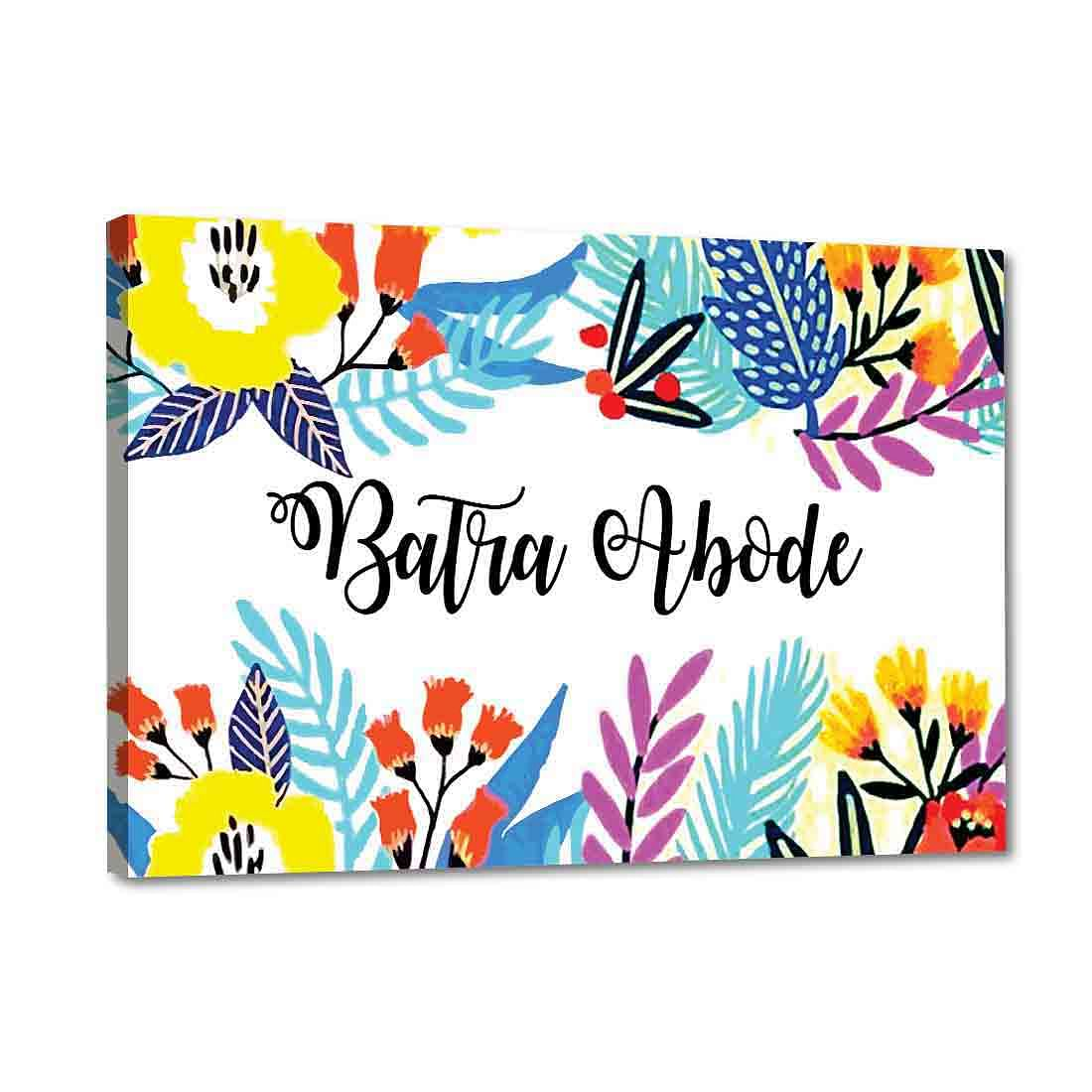 Floral name plate for home Online