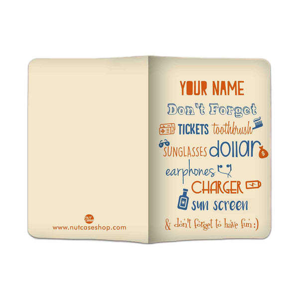 Personalized Passport Cover -  Dont Forget White - Nutcase