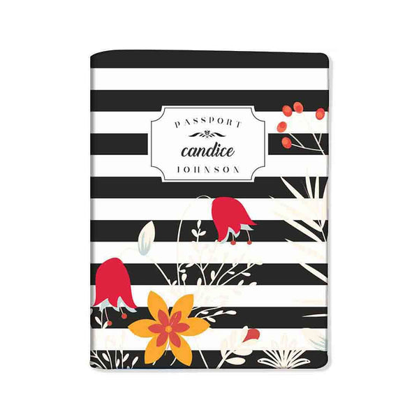 Customized Passport Holder - Red Folwers With Black Strips - Nutcase