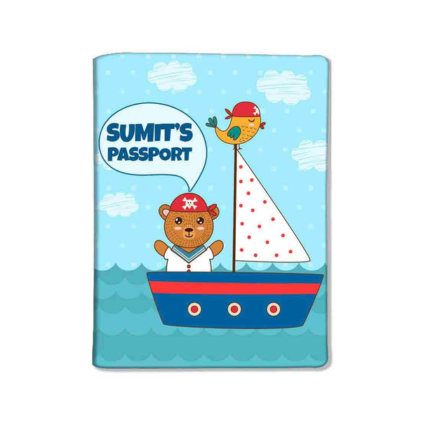 Customized Travel Document Holder  -Ship & Bear Blue - Nutcase