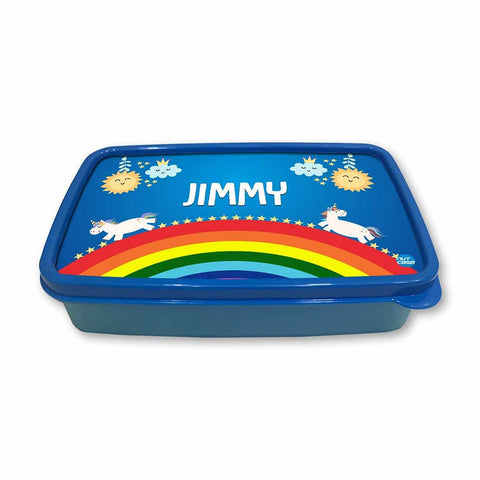 Personalized Snack Box for Kids Plastic Lunch Box for Boys -Rainbow & Unicorn
