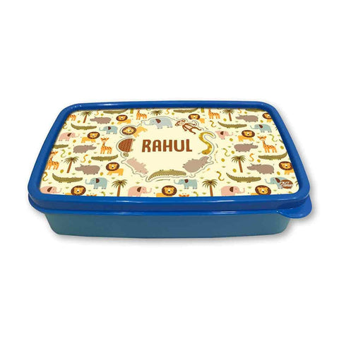 Personalized Snack Box for Kids Plastic Lunch Box for Boys -Wild Animals