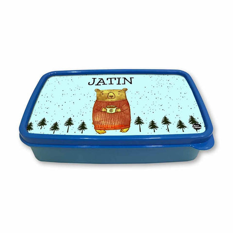 Personalized Snack Box for Kids Plastic Lunch Box for Boys -Cute Bear