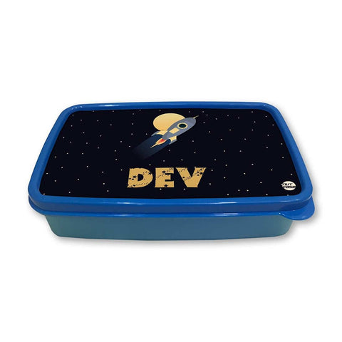 Personalized Snack Box for Kids Plastic Lunch Box for Boys -Space Rocket