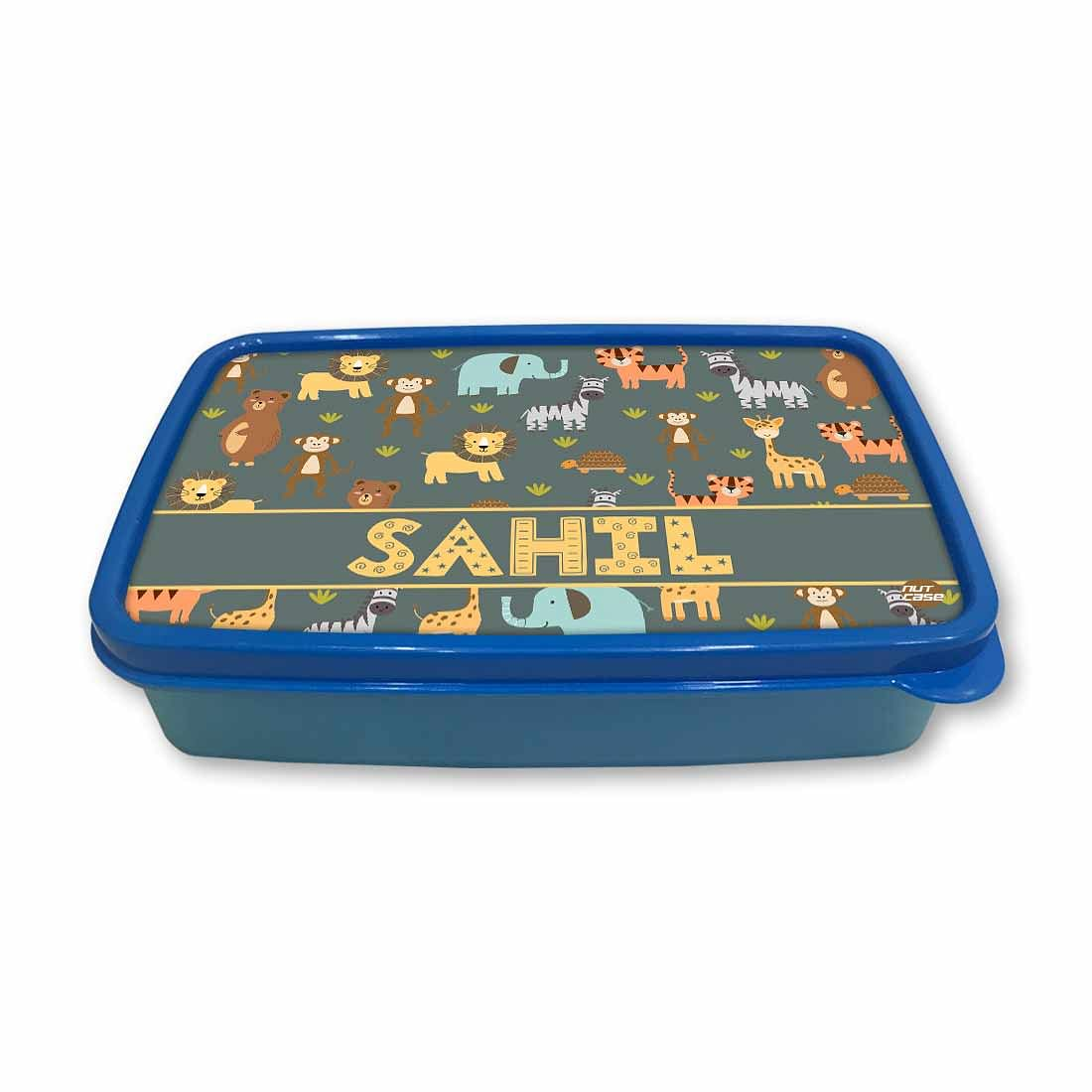 Personalized Snack Box for Kids Plastic Lunch Box for Boys -Wild Animal
