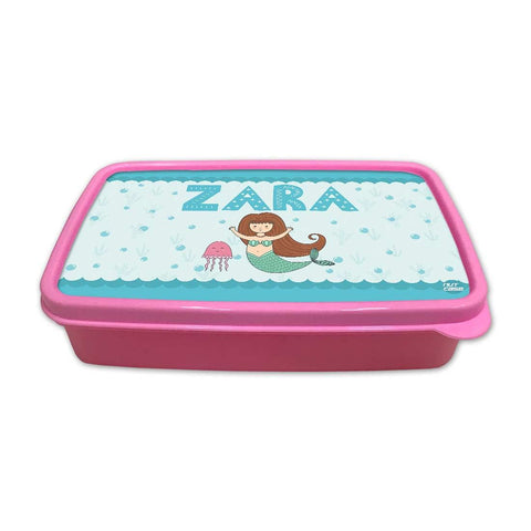 Personalized Snack Box for Kids Plastic Lunch Box for Girls -Mermaid & Jellyfish