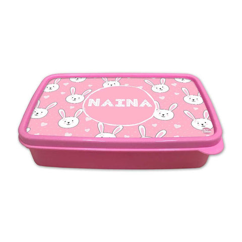 Personalized Snack Box for Kids Plastic Lunch Box for Girls -White Rabbit