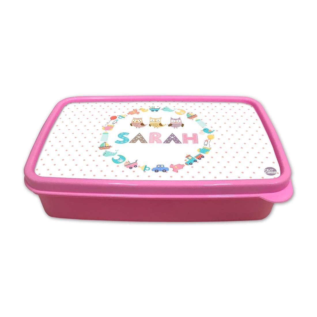 Personalized Snack Box for Kids Plastic Lunch Box for Girls -Kids Toys and Owls