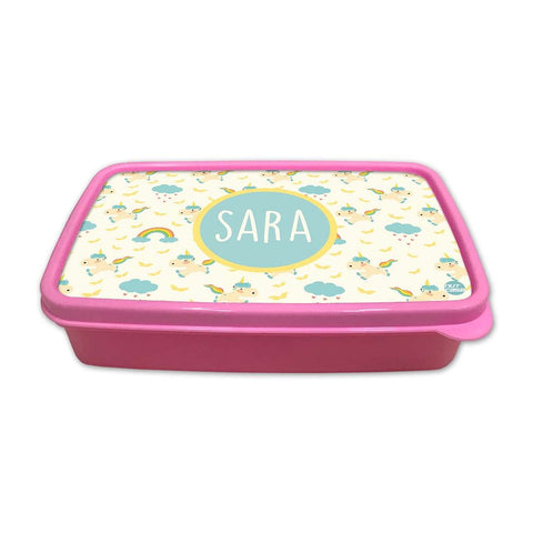 Personalized Snack Box for Kids Plastic Lunch Box for Girls -Unicorn and Cloud