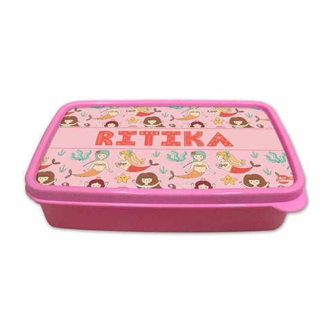 Personalized Snack Box for Kids Plastic Lunch Box for Girls -Mermaid & Stars